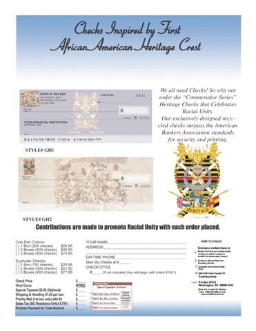 Heritage Crest First African American Commemorative Checks